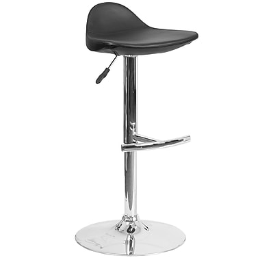Contemporary Black Vinyl Adjustable Height Barstool with Chrome Base (DS-8002-BK-GG)