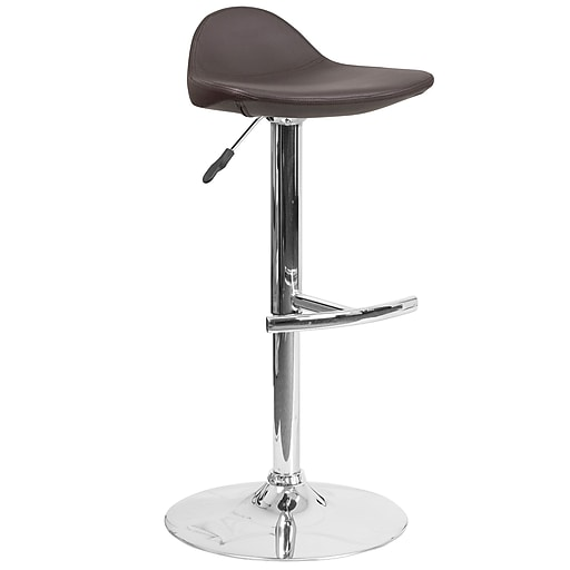 Contemporary Brown Vinyl Adjustable Height Barstool with Chrome Base (DS-8002-BRN-GG)