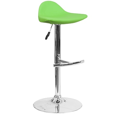 Contemporary Green Vinyl Adjustable Height Barstool with Chrome Base (DS-8002-GN-GG)