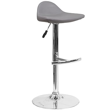 Contemporary Grey Vinyl Adjustable Height Barstool with Chrome Base (DS-8002-GY-GG)