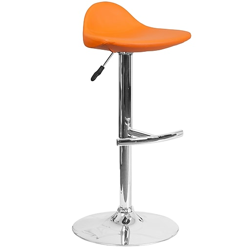 Contemporary Orange Vinyl Adjustable Height Barstool with Chrome Base (DS-8002-OR-GG)