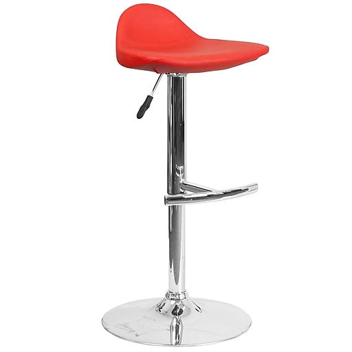 Contemporary Red Vinyl Adjustable Height Barstool with Chrome Base (DS-8002-RED-GG)