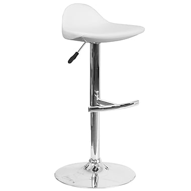 Contemporary White Vinyl Adjustable Height Barstool with Chrome Base (DS-8002-WH-GG)