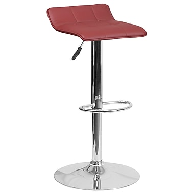 Contemporary Burgundy Vinyl Adjustable Height Barstool with Chrome Base (DS-801B-BG-GG)