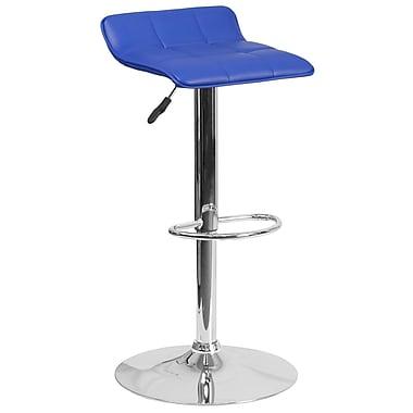 Tabouret de bar contemporain à hauteur ajustable en vinyle bleu avec base chromée (DS-801B-BL-GG)