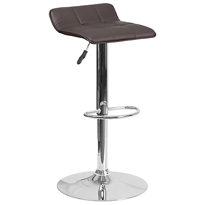 Contemporary Brown Vinyl Adjustable Height Barstool with Chrome Base (DS-801B-BRN-GG)