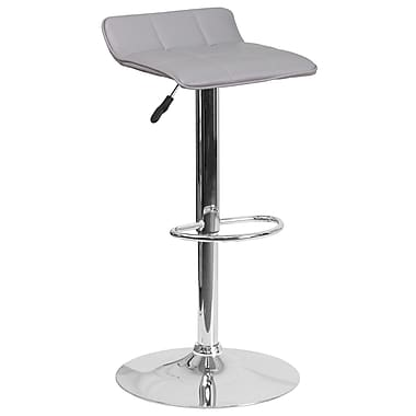 Contemporary Grey Vinyl Adjustable Height Barstool with Chrome Base (DS-801B-GY-GG)