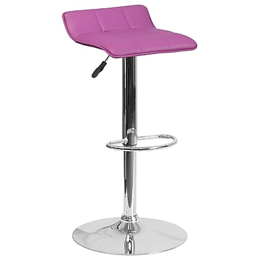 Contemporary Purple Vinyl Adjustable Height Barstool with Chrome Base (DS-801B-PUR-GG)
