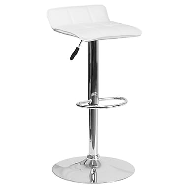 Contemporary White Vinyl Adjustable Height Barstool with Chrome Base (DS-801B-WH-GG)