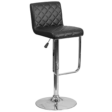 Contemporary Black Vinyl Adjustable Height Barstool with Chrome Base (DS-8101-BK-GG)