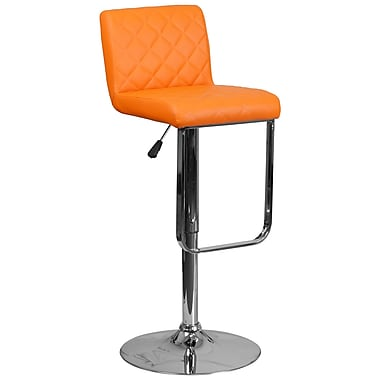 Tabouret de bar contemporain à hauteur ajustable en vinyle orange avec base chromée (DS-8101-OR-GG)