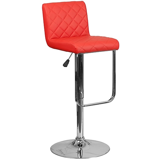 Contemporary Red Vinyl Adjustable Height Barstool with Chrome Base (DS-8101-RED-GG)