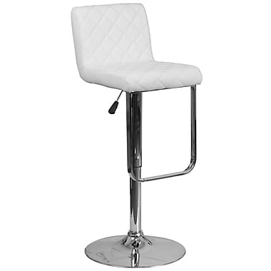 Contemporary White Vinyl Adjustable Height Barstool with Chrome Base (DS-8101-WH-GG)