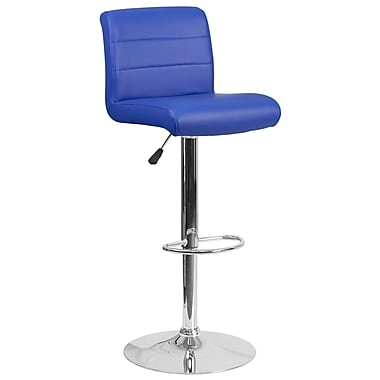 Contemporary Blue Vinyl Adjustable Height Barstool with Chrome Base (DS-8101B-BL-GG)