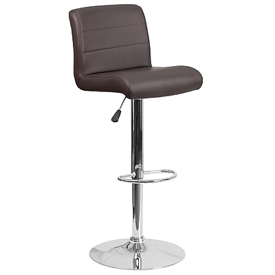Contemporary Brown Vinyl Adjustable Height Barstool with Chrome Base (DS-8101B-BRN-GG)