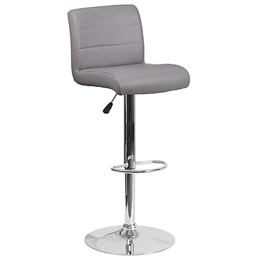 Contemporary Grey Vinyl Adjustable Height Barstool with Chrome Base (DS-8101B-GY-GG)