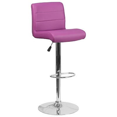 Contemporary Purple Vinyl Adjustable Height Barstool with Chrome Base (DS-8101B-PUR-GG)