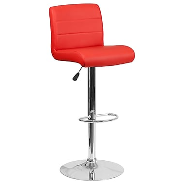 Contemporary Red Vinyl Adjustable Height Barstool with Chrome Base (DS-8101B-RED-GG)