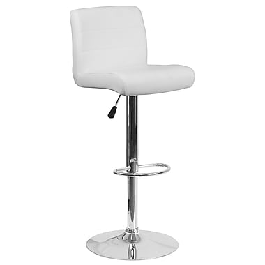 Contemporary White Vinyl Adjustable Height Barstool with Chrome Base (DS-8101B-WH-GG)