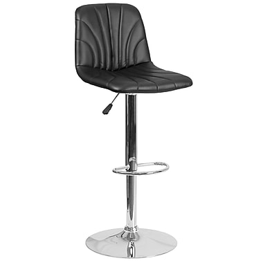 Contemporary Black Vinyl Adjustable Height Barstool with Chrome Base (DS-8220-BK-GG)