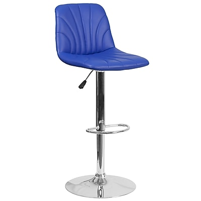 Contemporary Blue Vinyl Adjustable Height Barstool with Chrome Base (DS-8220-BL-GG)