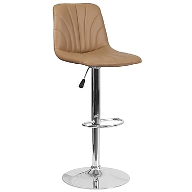 Contemporary Cappuccino Vinyl Adjustable Height Barstool with Chrome Base (DS-8220-CAP-GG)