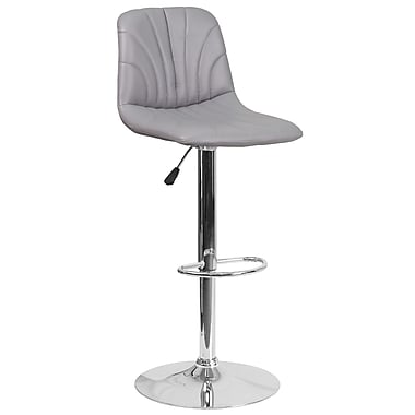 Contemporary Grey Vinyl Adjustable Height Barstool with Chrome Base (DS-8220-GY-GG)