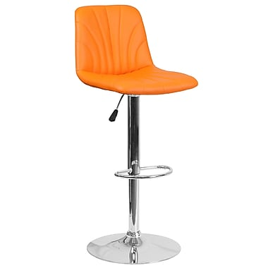 Tabouret de bar contemporain à hauteur ajustable en vinyle orange avec base chromée (DS-8220-OR-GG)