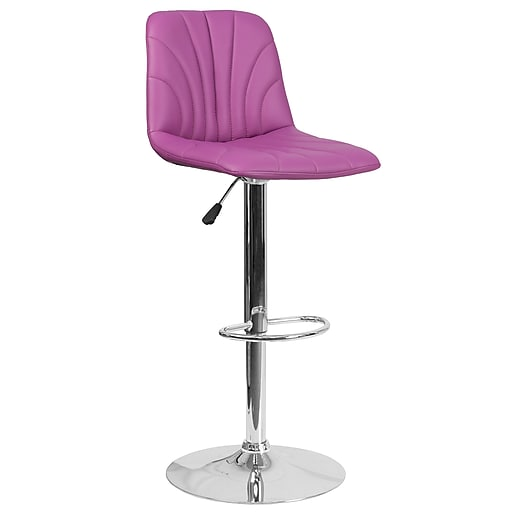 Contemporary Purple Vinyl Adjustable Height Barstool with Chrome Base (DS-8220-PUR-GG)