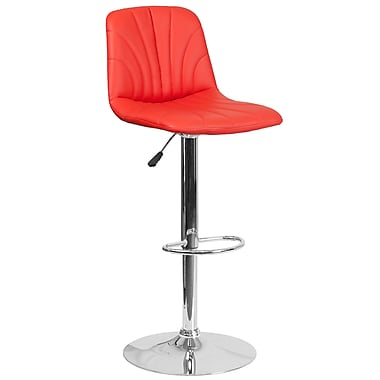 Contemporary Red Vinyl Adjustable Height Barstool with Chrome Base (DS-8220-RED-GG)
