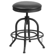 24'' Counter Height Stool with Swivel Lift Black Leather Seat (ET-BR542-224-GG)