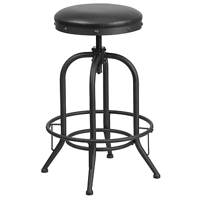 30'' Barstool with Swivel Lift Black Leather Seat (ET-BR542-230-GG)