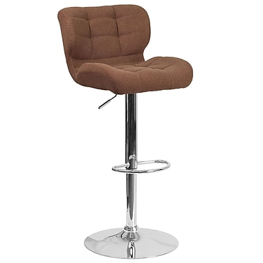 Contemporary Tufted Brown Fabric Adjustable Height Barstool with Chrome Base (SD-SDR-2510-BRN-FAB-GG)