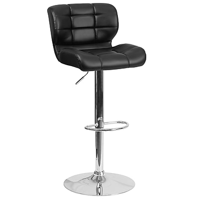 Contemporary Tufted Black Vinyl Adjustable Height Barstool with Chrome Base (SD-SDR-2510-BK-GG)