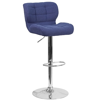 Contemporary Tufted Blue Fabric Adjustable Height Barstool with Chrome Base (SD-SDR-2510-BL-FAB-GG)