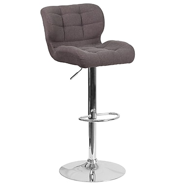 Contemporary Tufted Dark Grey Fabric Adjustable Height Barstool with Chrome Base (SD-SDR-2510-DK-GY-FAB-GG)
