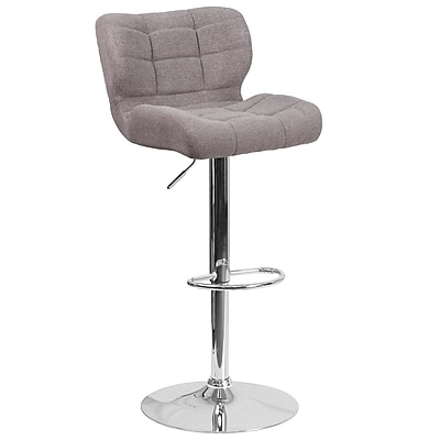 Contemporary Tufted Gray Fabric Adjustable Height Barstool with Chrome Base (SD-SDR-2510-GY-FAB-GG)