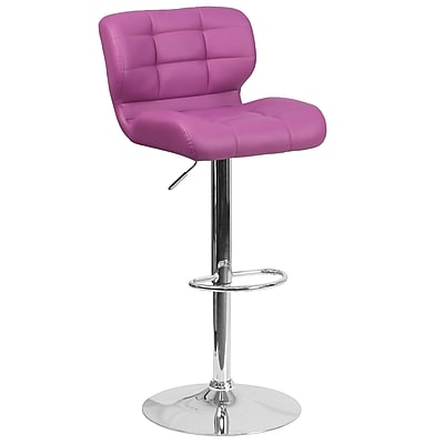 Contemporary Tufted Purple Vinyl Adjustable Height Barstool with Chrome Base (SD-SDR-2510-PUR-GG)