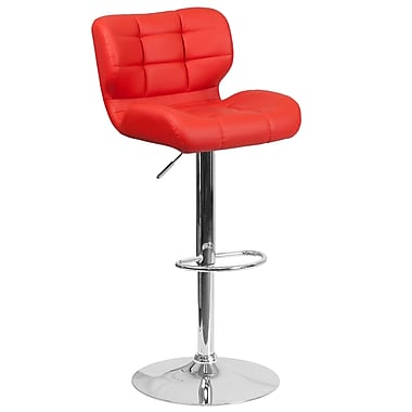 Contemporary Tufted Red Vinyl Adjustable Height Barstool with Chrome Base (SD-SDR-2510-RED-GG)