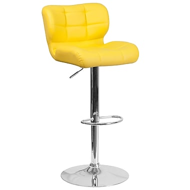 Contemporary Tufted Yellow Vinyl Adjustable Height Barstool with Chrome Base (SD-SDR-2510-YEL-GG)