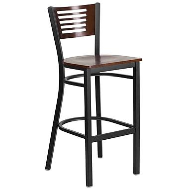 Chaise de restaurant série HERCULES en métal noir avec dos à lattes, dossier/siège en bois de noyer (XU-DG-6H1B-WAL-BAR-MTL-GG)