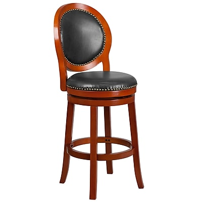 30'' High Light Cherry Wood Barstool with Walnut Leather Swivel Seat (TA-550130-LC-GG)