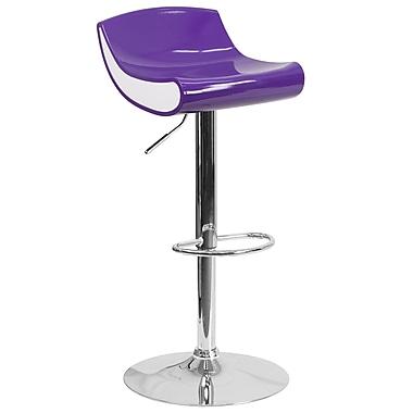 Tabouret de bar contemporain à hauteur ajustable en plastique violet et blanc avec base chromée (CH-101010-PUR-GG)