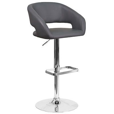 Contemporary Gray Vinyl Adjustable Height Barstool with Chrome Base (CH-122070-GY-GG)