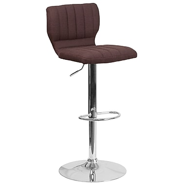 Contemporary Brown Fabric Adjustable Height Barstool with Chrome Base (CH-132330-BRNFAB-GG)