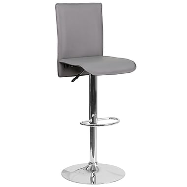 Contemporary Grey Vinyl Adjustable Height Barstool with Chrome Base (CH-TC3-1206-GY-GG)