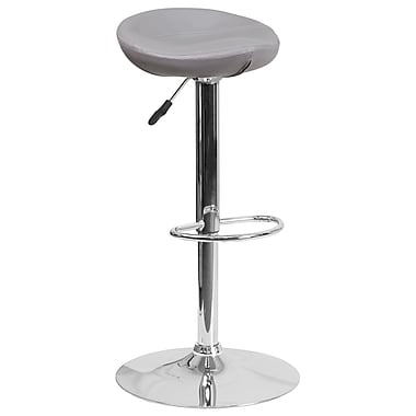 Contemporary Grey Vinyl Adjustable Height Barstool with Chrome Base (DS-8001-GY-GG)