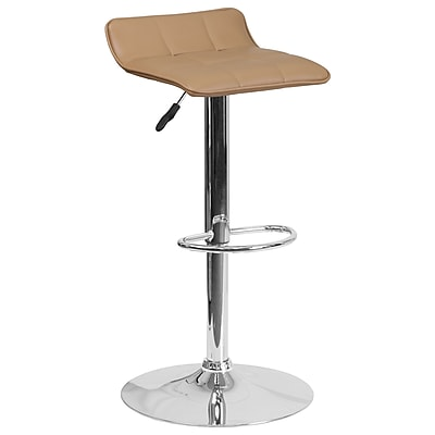 Contemporary Cappuccino Vinyl Adjustable Height Barstool with Chrome Base (DS-801B-CAP-GG)