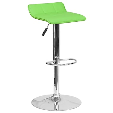 Contemporary Green Vinyl Adjustable Height Barstool with Chrome Base (DS-801B-GN-GG)