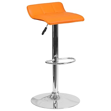 Contemporary Orange Vinyl Adjustable Height Barstool with Chrome Base (DS-801B-OR-GG)